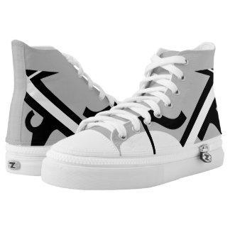 Silver & Black Leverage III Custom Designer Hi-Top Printed Shoes