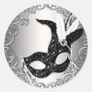 Silver Black Mask Masquerade Envelope Seal Favor