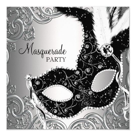 silver black mask masquerade party invitation zazzle com