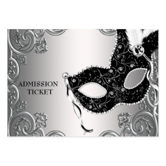 Silver Black Masquerade Party Admission Tickets Large Business Cards (Pack Of 100)