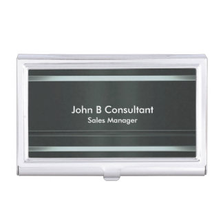 Silver black metal effect bands business card cases