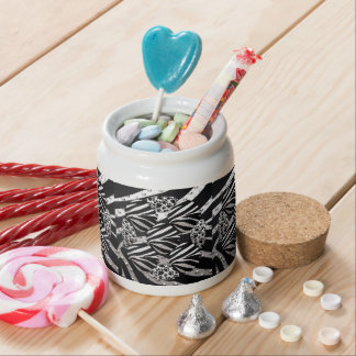 Silver Black Metal Texture Collage Candy Jars