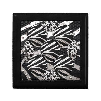 Silver Black Metal Texture Collage Keepsake Box