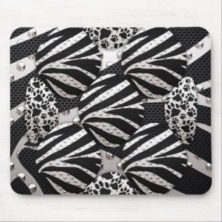 Silver/Black Metal Texture Collage Mousepad