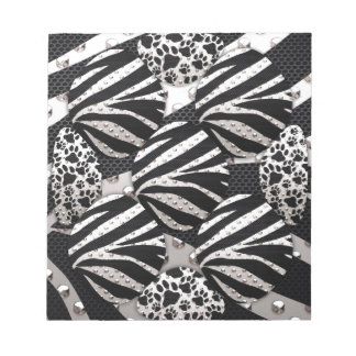Silver Black Metal Texture Collage Note Pads