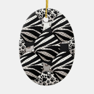Silver Black Metal Texture Collage Ornament