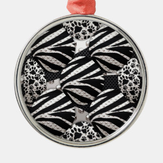 Silver Black Metal Texture Collage Christmas Ornaments