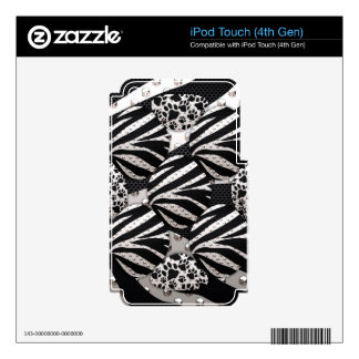 Silver Black Metal Texture Collage iPod Touch 4G Skins