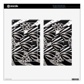 Silver Black Metal Texture Collage Decals For Kindle Fire