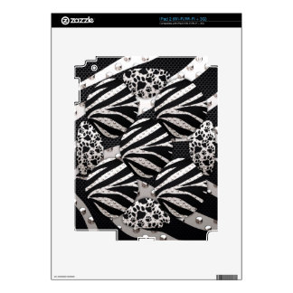 Silver Black Metal Texture Collage Skin For iPad 2