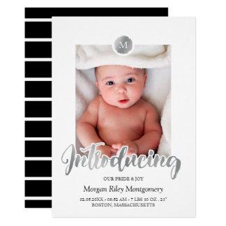 Silver & Black Monogram Introducing Baby Card