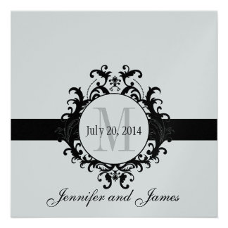 Silver Black Monogram Save the Date Wedding Personalized Announcement