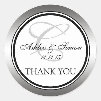 Silver Black Monogram Wedding Thank You Classic Round Sticker