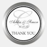 Silver Black Monogram Wedding Thank You Stickers