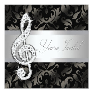 Silver Black Music Treble Clef Recital Invitations