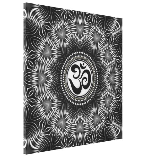 Silver Black Om Sign Love Mandala NewAge Canvas