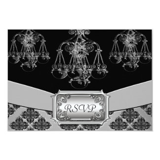 Silver & Black Ornate Chandelier Wedding Invitation