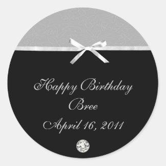Silver & Black Party Invitation Water/Wine Labels Classic Round Sticker