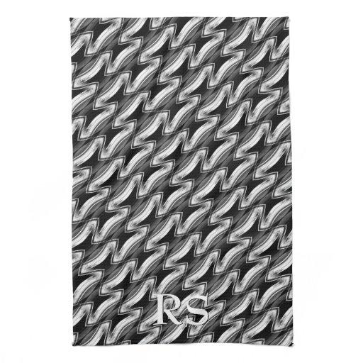 Silver Black Pattern: Monogram Kitchen Decor Towel