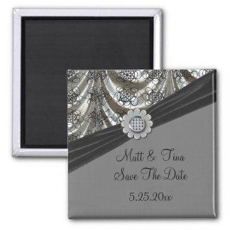 Silver & Black Patterned Dots Draped Date Saver Magnet