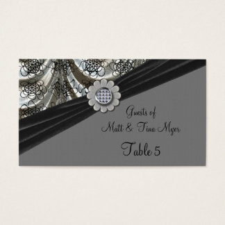 Silver & Black Patterned Dots Draped Table Business Card