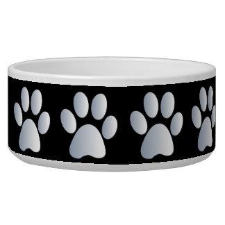Silver black pawprints beautiful pet dog bowl