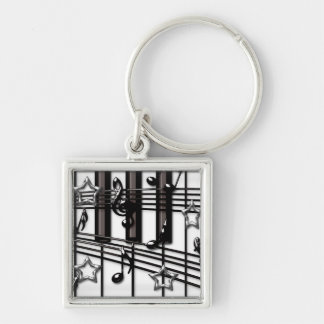Silver Black Piano Keyboard Notes and Stars Keychain