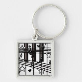 Silver Black Piano Keyboard Notes and Stars Key Chain