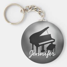 Silver Black Piano Name Monogram Student Gift Keychain