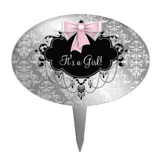 Silver Black Pink Baby Shower Cake Topper