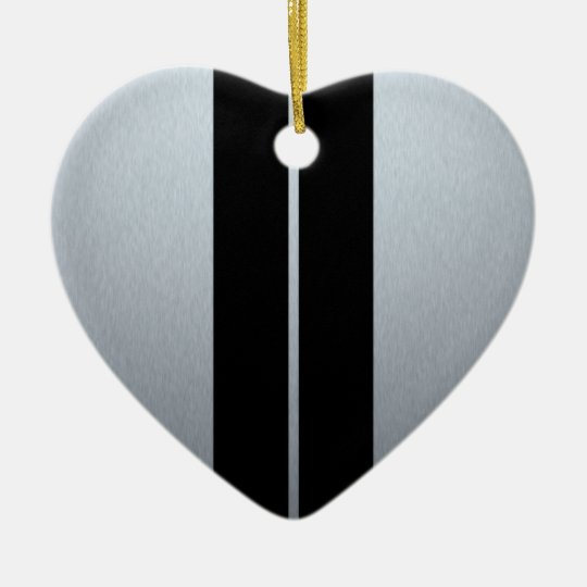 Silver & Black Racing Car Stripes Ceramic Ornament