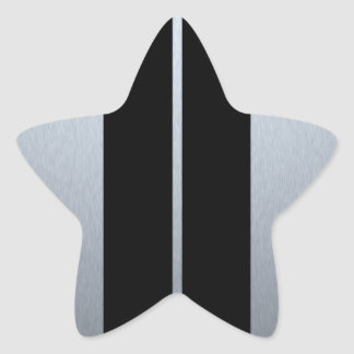 Silver & Black Racing Car Stripes Star Sticker