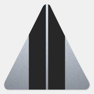 Silver & Black Racing Car Stripes Triangle Sticker