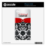 Silver Black Red Damask iPhone 4/4s Skin Skin For The iPhone 4S