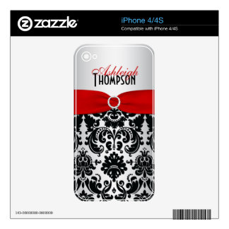 Silver Black Red Damask iPhone 4/4s Skin Decals For iPhone 4