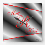 Silver,Black & Red Monogrammed clock-customize Square Wall Clock