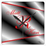 Silver,Black & Red Monogrammed clock-customize Square Wallclock