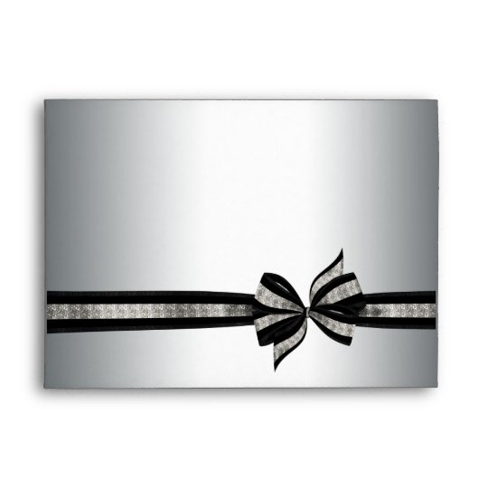 Silver Black Ribbon Envelope Zazzle Com