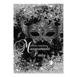 Silver Black Snowflake Mask Masquerade Sweet 16 5x7 Paper Invitation Card