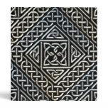 Silver Black Square Shapes Celtic Knotwork Pattern 3 Ring Binder