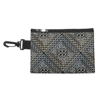Silver Black Square Shapes Celtic Knotwork Pattern Accessories Bags