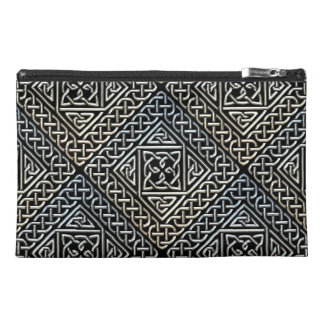 Silver Black Square Shapes Celtic Knotwork Pattern Travel Accessories Bags
