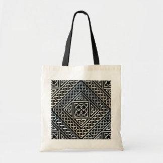 Silver Black Square Shapes Celtic Knotwork Pattern Bag