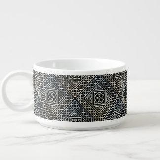 Silver Black Square Shapes Celtic Knotwork Pattern Bowl