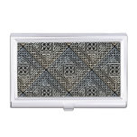 Silver Black Square Shapes Celtic Knotwork Pattern Business Card Case