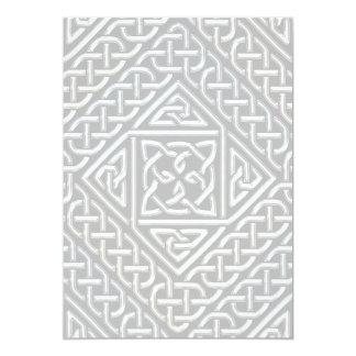 Silver Black Square Shapes Celtic Knotwork Pattern Card