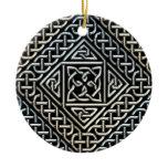 Silver Black Square Shapes Celtic Knotwork Pattern Ceramic Ornament