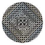 Silver Black Square Shapes Celtic Knotwork Pattern Classic Round Sticker