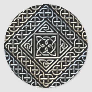 Silver Black Square Shapes Celtic Knotwork Pattern Classic Round Sticker