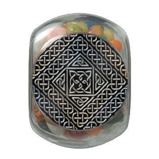Silver Black Square Shapes Celtic Knotwork Pattern Glass Candy Jar